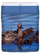 Female Mallard Duck With Chicks Duvet Cover
