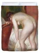 Female Nude Drying Herself Duvet Cover