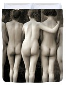 Female Nude Quintet Duvet Cover
