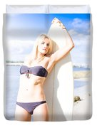 Female Surfer In Sun With Surf Board Duvet Cover