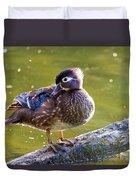 Female Wood Duck Duvet Cover