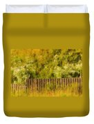 Fence And Hillside Of Wildflowers On Suomenlinna Island In Finland Duvet Cover