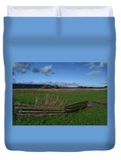 Fence And Open Field Duvet Cover