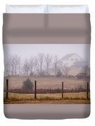 Fence Field And Fog Duvet Cover