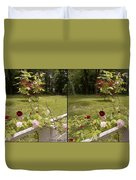 Fence Full Of Roses - Cross Your Eyes And Focus On The Middle Image Duvet Cover