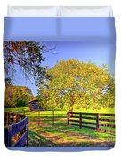 Fence Pasture And Barn 1721 Duvet Cover