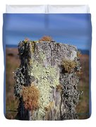 Fence Post Encrusted With Lichen  Duvet Cover