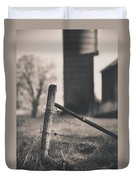 Fence Post In Black And White Duvet Cover