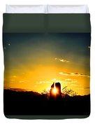 Fence Post Sunset Duvet Cover