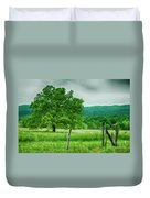 Fence Row And Tree Duvet Cover