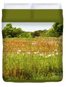 Fenced In Wildflowers Duvet Cover