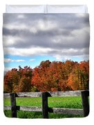 Fences, Fields And Foliage Duvet Cover
