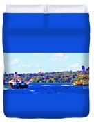 Ferries In The Harbor Duvet Cover