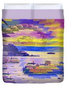 Ferries Off Alki Duvet Cover