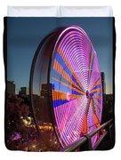 Ferris Wheel At Fun Fair In Downtown Portland Oregon Duvet Cover