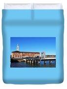 Ferry Building And Pinnacle Building - San Francisco Embarcadero Duvet Cover
