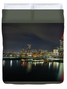 Ferry Terminal In Vancouver Bc At Night Duvet Cover
