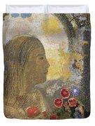 Fertility. Woman In Flowers Duvet Cover