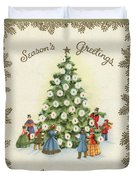 Festive Christmas Tree In A Town Square Duvet Cover