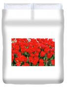 Field Of Brilliant Red Tulip Flowers In A Garden Duvet Cover