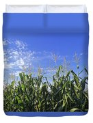 Field Of Corn Against A Clear Blue Sky Duvet Cover
