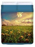 Field Of Dandelions At Sunset Duvet Cover