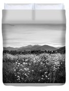 Field Of Flowers In Black And White Duvet Cover