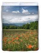 Field Of Orange Daylilies Duvet Cover