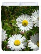 Field Of White Daisy Flowers Art Prints Summer Duvet Cover