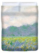 Field Of Yellow Irises At Giverny Duvet Cover