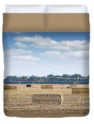 Field With Straw Bale And Center Pivot Sprinkler System Agricult Duvet Cover