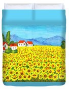 Field With Sunflowers Duvet Cover