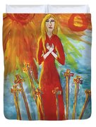 Fiery Eight Of Swords Illustrated Duvet Cover