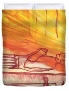 Fiery Four Of Swords Illustrated Duvet Cover
