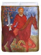 Fiery Knight Of Swords Duvet Cover