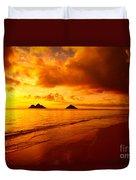 Fiery Lanikai Beach Duvet Cover
