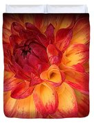 Fiery Red And Yellow Dahlia Duvet Cover