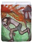 Fiery Seven Of Swords Illustrated Duvet Cover