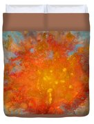 Fiery Sunset Abstract Painting Duvet Cover by Julia Apostolova