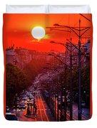 Fiery Sunset In Belgrade Belgradehenge Duvet Cover