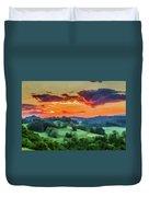 Fiery Sunset On The Farm Duvet Cover