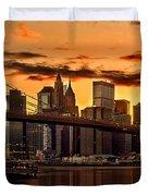 Fiery Sunset Over Manhattan  Duvet Cover