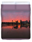 Fiery Sunset Over Portland Skyline Duvet Cover