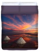 Fiery Sunset Over The Salar De Uyuni Duvet Cover