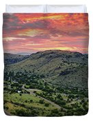 Fiery Sunset Panorama Over Davis Mountains State Park - Keesey Canyon Blue Mountain Limpia Canyon - Duvet Cover
