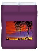 Fiery Sunset With Palm Tree Duvet Cover