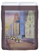 Fifth Ave At Dawn Duvet Cover