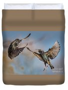 Fighting  Starlings Duvet Cover