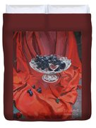Figs And Grapes On Red  Duvet Cover