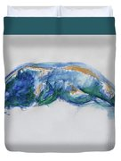Figure In Blues And Greens Duvet Cover
